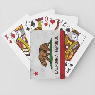 Grunge Patriotic California State Flag Playing Cards