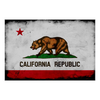 Grunge Patriotic California State Flag Poster
