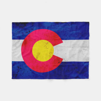 Grunge Patriotic Colorado State Flag Fleece Blanket