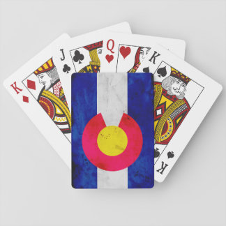 Grunge Patriotic Colorado State Flag Playing Cards