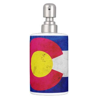 Grunge Patriotic Colorado State Flag Soap Dispenser And Toothbrush Holder