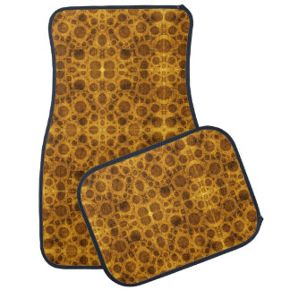 Grunge Pattern Steampunk Gold and Brown Car Mats