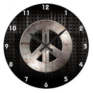 Grunge Peace Sign Large Clock