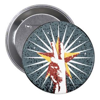 Grunge Peace Sign Star Button