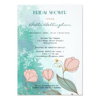 Grunge Peach Flowers Bridal Shower Invitation