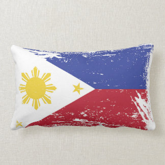 Grunge Philippines Flag Lumbar Pillow