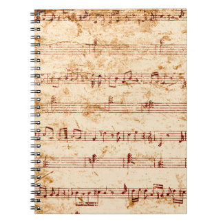 Grunge piano notes music sheet spiral note books