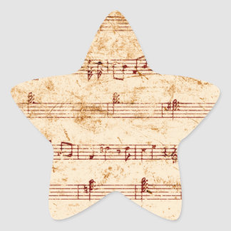 Grunge piano notes music sheet star sticker