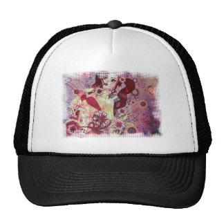 Grunge pink bikini girl on floral background cap
