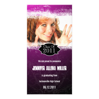 Grunge Pink Black Graduation Photo Card