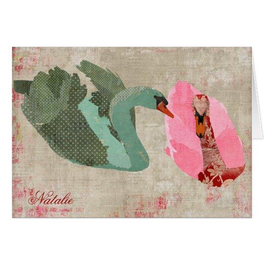 Grunge Pink & Olive Swans Personalised Notecard