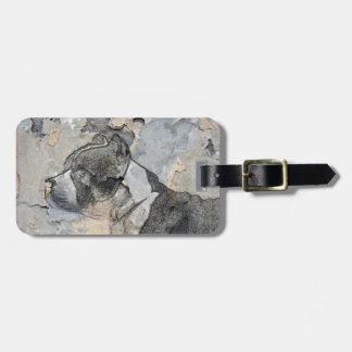 Grunge Pitbull terrier Luggage Tag