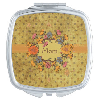 Grunge Polka Dots with Flower Wreath Compact Mirror