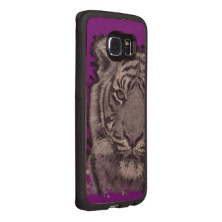Grunge Purple Abstract Tiger Wood Phone Case