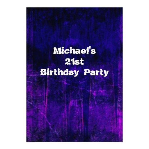 Grunge Purple Blue Abstract 21st Birthday Mans 2 Invites