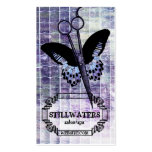 grunge purple butterfly scissors hair stylist spa business card templates