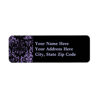 Grunge Purple Damask Return Address Label
