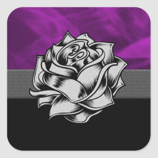 Grunge Purple Rose Square Sticker