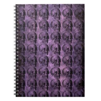 grunge Purple Skulls Spiral Notebook