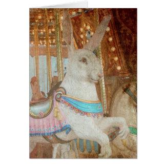 Grunge Rabbit Merry-Go-Round Card