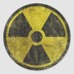 Grunge Radioactive Symbol Classic Round Sticker