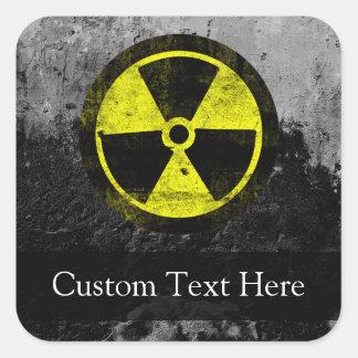 Grunge Radioactive Symbol Square Sticker