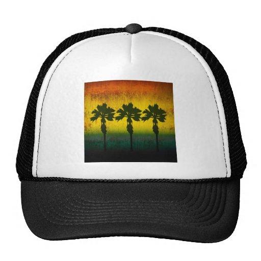 Grunge Rainbow Palm trees Hats