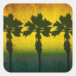 Grunge Rainbow Palm trees Square Sticker