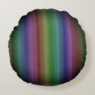 Grunge Rainbow Rock Stripe Line Pattern Round Cushion
