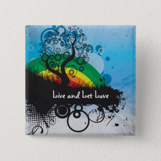 Grunge Rainbow Tree Customizable 15 Cm Square Badge