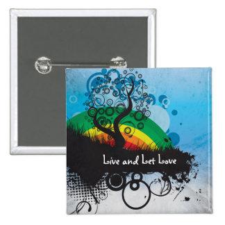 Grunge Rainbow Tree Customizable 15 Cm Square Badge