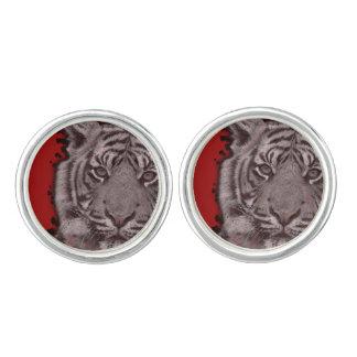 Grunge Red Abstract Tiger Cufflinks