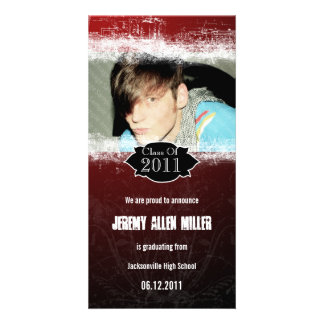 Grunge Red Black Graduation Photo Card