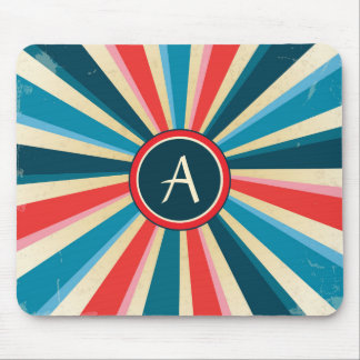 Grunge Red White and Blue Sunburst with Monogram Mouse Pad