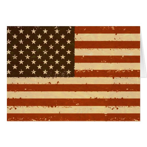 Grunge Retro American Flag Greeting Cards
