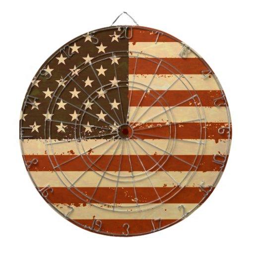 Grunge Retro American Flag Dart Boards