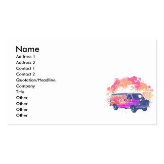 grunge retro hippie van business card template