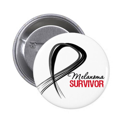 Grunge Ribbon Melanoma Survivor Pin