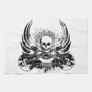 Grunge Rock Skull with Guitars Tea Towel