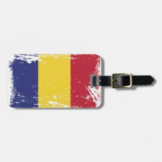 Grunge Romania Flag Bag Tag