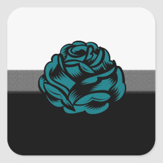 Grunge Rose in Teal Square Stickers