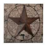 Grunge rustic Texas star western country art Tile