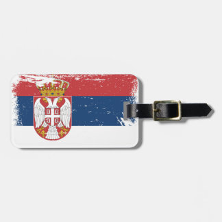 Grunge Serbia Flag Luggage Tag