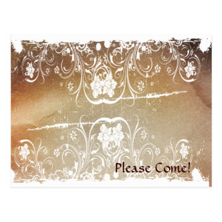 Grunge Shabby Chic Invitation Postcard