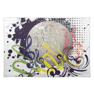 Grunge Silver Disco Ball 2 Placemat