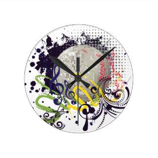 Grunge Silver Disco Ball 2 Round Clock