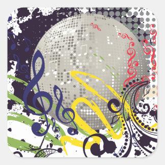 Grunge Silver Disco Ball 2 Square Sticker