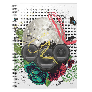 Grunge Silver Disco Ball Notebook