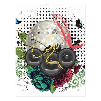 Grunge Silver Disco Ball Postcard