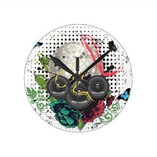 Grunge Silver Disco Ball Round Clock
